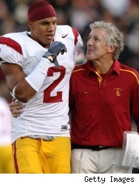 Taylor Mays and Pete Carroll