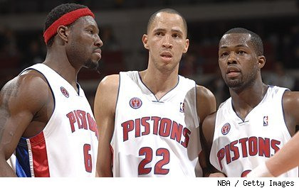 Ben Wallace, Tayshaun Prince and Rodney Stuckey