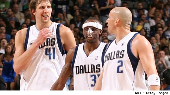 Dirk Nowitzki, Jason Terry and Jason Kidd