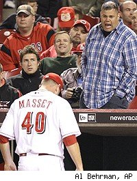 A Reds fan heckles Nick Masset