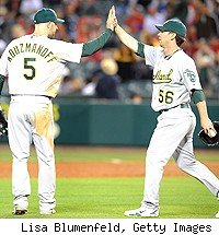 Oakland Athletics celebrate a win