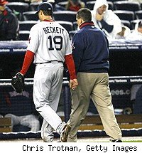 Josh Beckett and Red Sox trainer