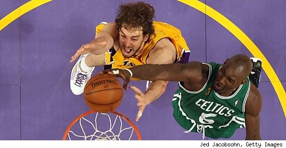 Pau Gasol and Kevin Garnett in 2008 NBA Finals