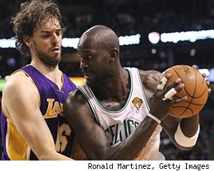 Pau Gasol and Kevin Garnett