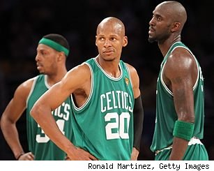 Paul Pierce, Ray Allen and Kevin Garnett