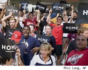 Cleveland Cavs fans cheering for LeBron James