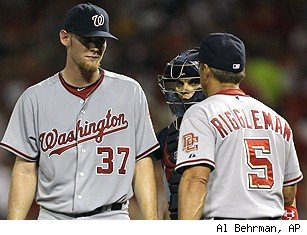 Stephen Strasburg, Ivan Rodriguez and Jim Riggleman