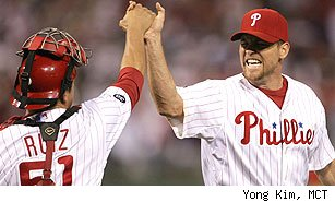 Carlos Ruiz and Brad Lidge