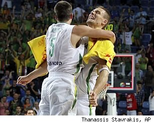 Lithuania celebrating