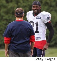 Randy Moss and Bill Belichick had some laughs, but it was time for Bill and the Patriots to move on.