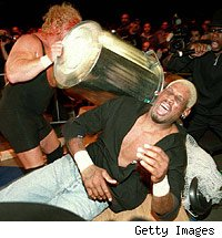 Dennis Rodman hit with a trashcan