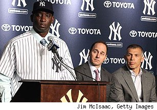 Rafael Soriano, Brian Cashman and Joe Girardi