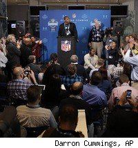 Auburn QB Cam Newton addressed the media Saturday at the NFL scouting combine.