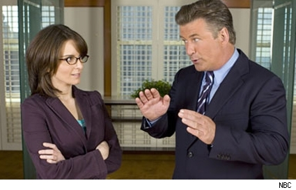 Tina Fey and Alec Baldwin star in 30 Rock.