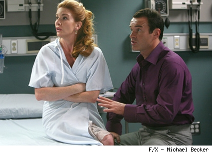 Dr. Christian Troy (Julian McMahon) with patient Shari Noble (Melissa Gilbert).