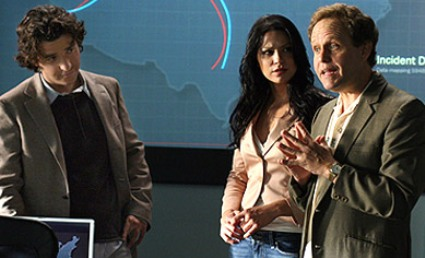 Numb3rs: (l - r) David Krumholtz, Navi Rawat, Peter MacNicol