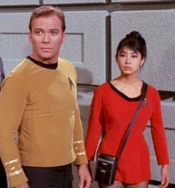 Yeoman Tamua - Miko Mayama with Captain Kirk