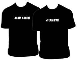 Team Pam and Team Karen t-shirts
