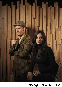 Ian Hart (L) as Don Konkey and Courteney Cox (R) as Lucy Spiller on 'Dirt.'