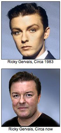 Ricky Gervais - then and now