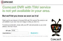 Comcast TiVo web page