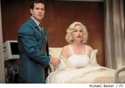 Dylan Walsh as Dr. Sean McNamara and Susan Griffiths as Joyce Monroe on FX's Nip/Tuck.