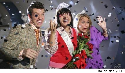 Michael Urie, America Ferrera, and Becki Newton