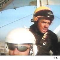 Nathan in an ultralight over Tuscany on The Amazing Race