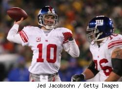 Eli Manning passing during the NFC Championship game