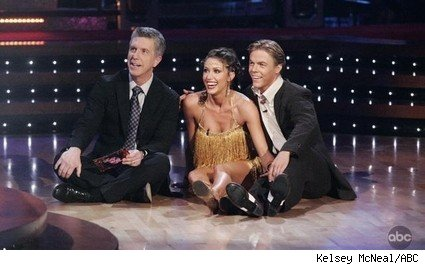 Tom Bergeron, Shannon Elizabeth, and Derek Hough