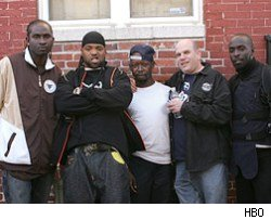 David Simon with some cast members of The Wire.