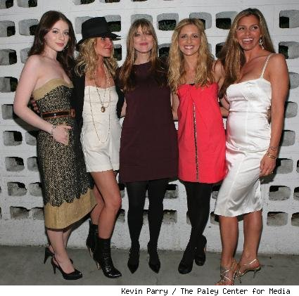 Michelle Trachtenberg, Emma Caulfield, Amber Benson, Sarah Michelle Gellar, and Charisma Carpenter