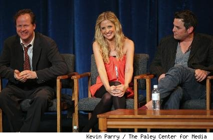 Joss Whedon, Sarah Michelle Gellar, and Nicholas Brendon 