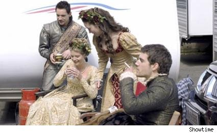 The cast of The Tudors hangs out on set.