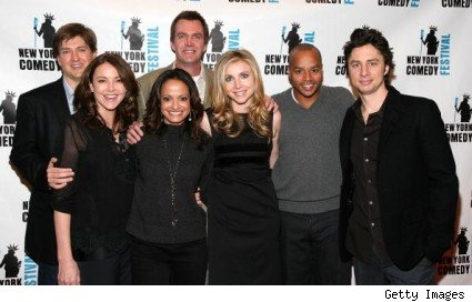 Bill Lawrence with members of the Scrubs cast