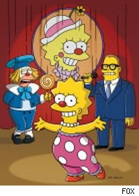 Krusty the Clown, Lisa Simpson, and Drew Carey