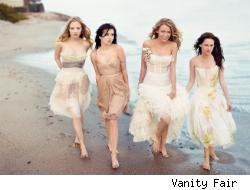 Gossip Girls walking on the sand.