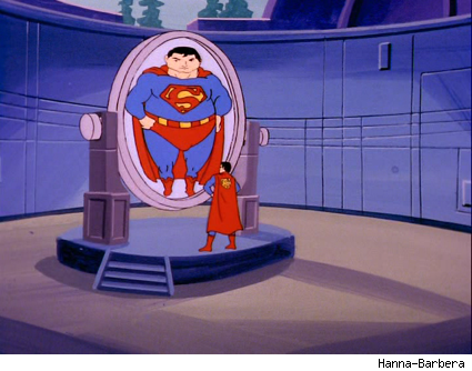 Superman looking into a mirror