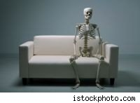 skeleton on couch