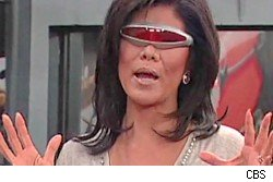 Julie Chen wearing Devo glasses in the BB10 house