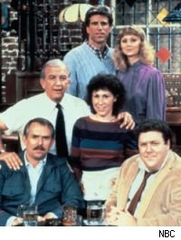 The original Cheers cast -- Sam, Diane, Coach, Carla, Cliff, Norm