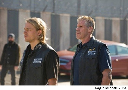Charlie Hunnam as Jax and Ron Perlman as Clay Morrow on FX's Sons of Anarchy.