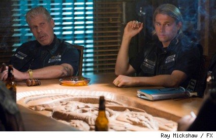 Ron Perlman as Clay Morrow and Charlie Hunnam as Jax
