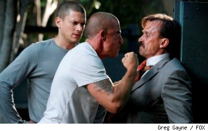 Michael (Wentworth Miller, L) and Lincoln (Dominic Purcell, C) come face to face with T-Bag (Robert Knepper, R) for the first time since escaping from Sona.