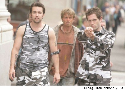 (L-R): Rob McElhenney as Mac, David Hornsby as Rickety Cricket, and Glenn Howerton as Dennis
