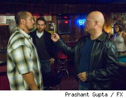 (L-R): Ben Bray as Santi, David Rees Snell as Ronnie, and Michael Chiklis as Vic.