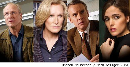 William Hurt, Glenn Close, Tate Donovan, and Rose Byrne all star in season two of FX's Emmy winning drama 'Damages.'
