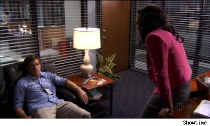 Dexter in Maria's office, reacting to the news that Miguel may have killed Elllen Wolf