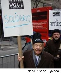 Jerry Stiller was just one of the writers on the WGA picket lines in the beginning of 2008