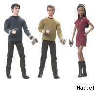 Barbie goes Federation on your ass with these new dolls modeled from the stars of the new Star Trek movie